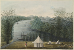 View of the Shirawati river, Garsoppa, with encampment, a sepoy standing guard.  April 1806. The finished version of WD850.